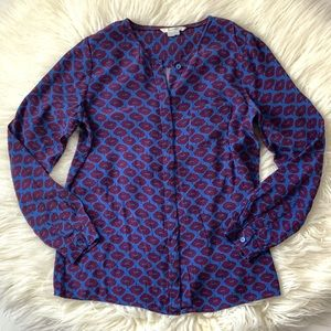 Boden Viscose Print Long Sleeve Button Down Shirt